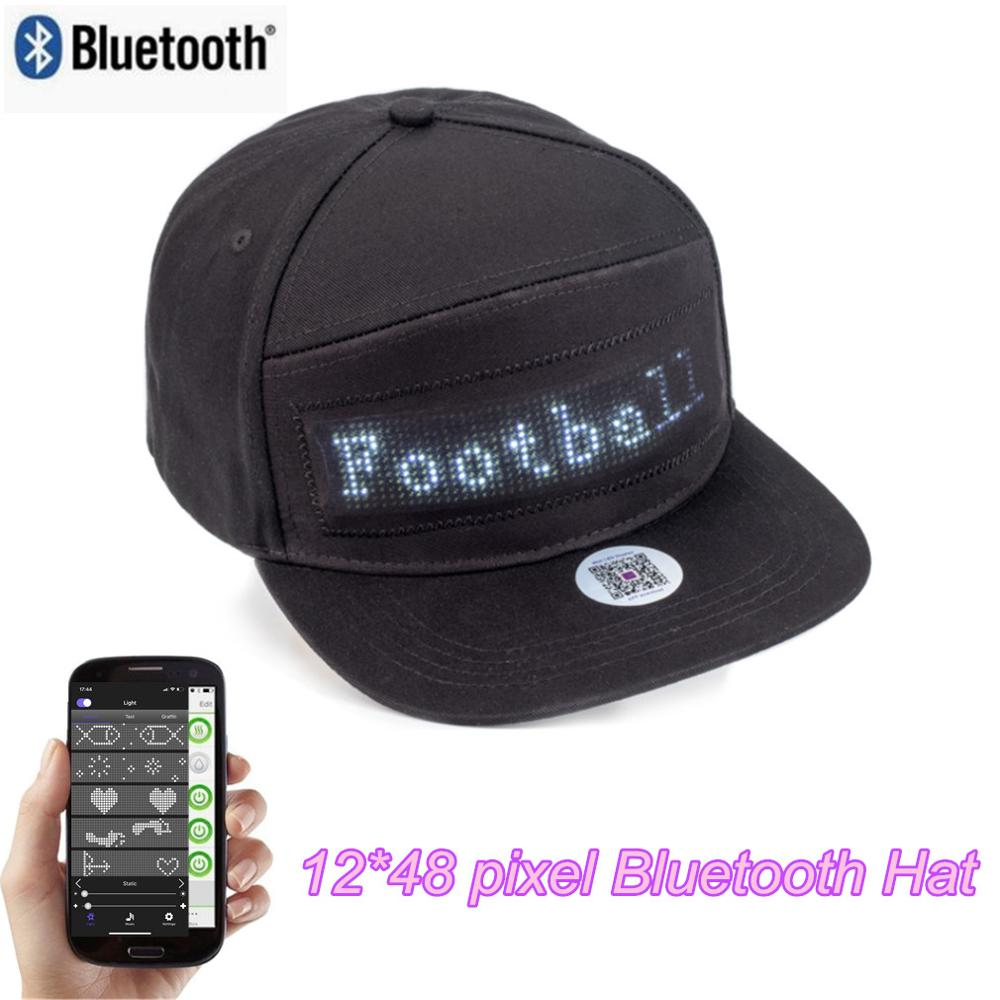 Neutral White 12X48 Bluetooth Control Hip Hop NBA Game DJ Music Festival Parade Sun Hat Hiking Fishing Hat For Men And Women
