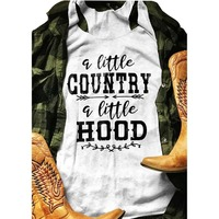 A Little Country A Little Hood Women Sleeveless American 2019 Hot Cotton Casual Female Letter Print Fashion Top Shirt Ladies