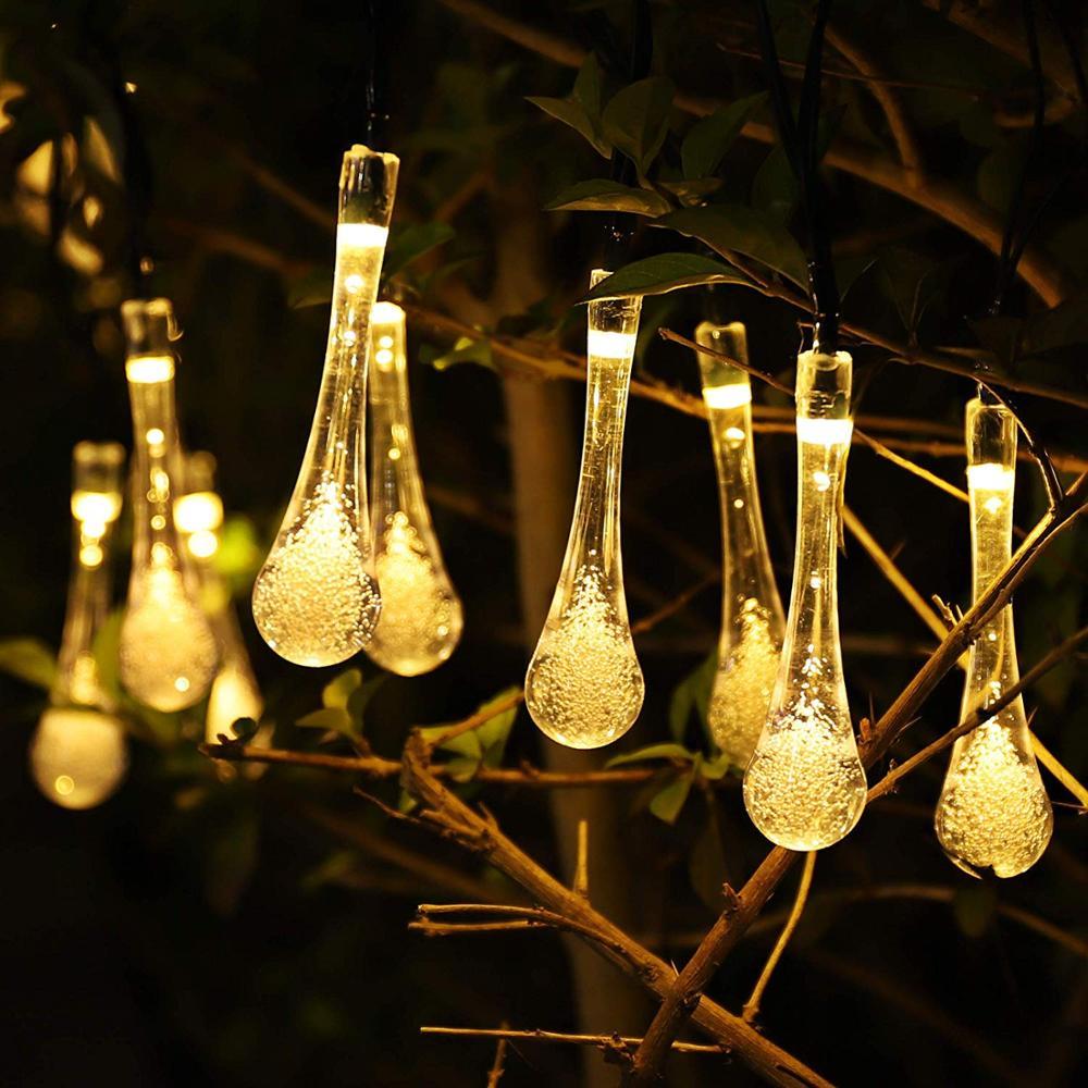 30 LED Warm White//Blue Solar Waterdrop Fairy String Lights Waterproof Xmas Decor