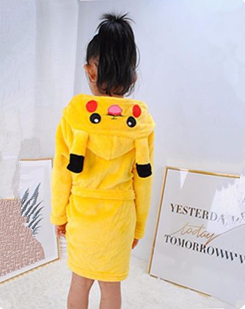 Pokemon Pikachu Boys Girls Sleepwear Bathrobe Carnival Children's Sleeprobes Flannel Hoodie Robe Kids Clothes Birthday Gifts