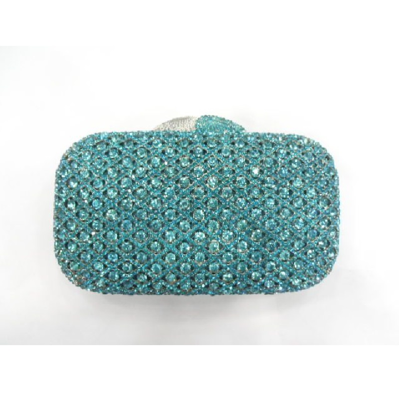 ФОТО A6607 Aqua Crystal Lady Fashion Wedding Bridal Party Night Metal Evening purse clutch bag case handbag box