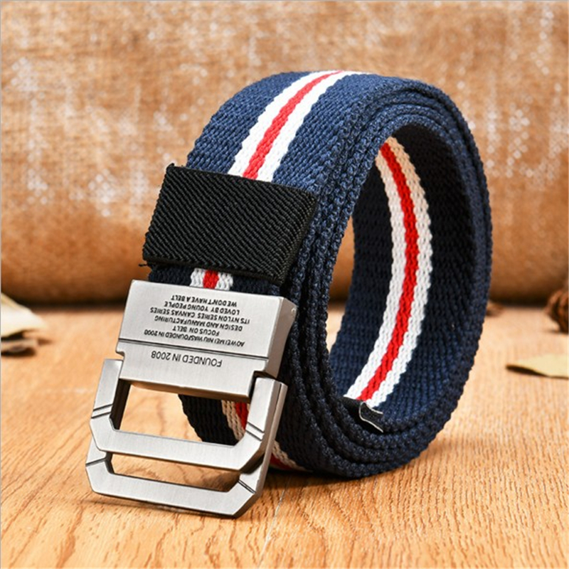 SupSindy Fashion Casual men   belt   double ring buckle stripe Canvas   belt   luxury designer Jeans for women   belts   nylon high quality