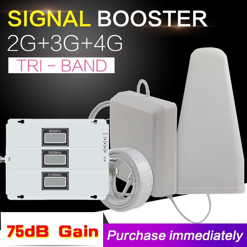 2G GSM 900 3G WCDMA 2100 4G LTE 1800 Tri bande amplificateur de Signal de téléphone Mobile 70dB répéteur de téléphone 2g 3g 4g répéteur de téléphone 2017 nouveau