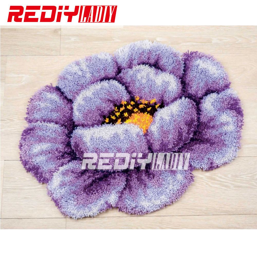 3D Latch Hook Rug Purple Poppy Flores DIY Needlework Unfinished Crocheting Rug Yarn Cushion Mat Home Decor Embroidery Carpet Rug3D Latch Hook Rug Purple Poppy Flores DIY Needlework Unfinished Crocheting Rug Yarn Cushion Mat Home Decor Embroidery Carpet Rug