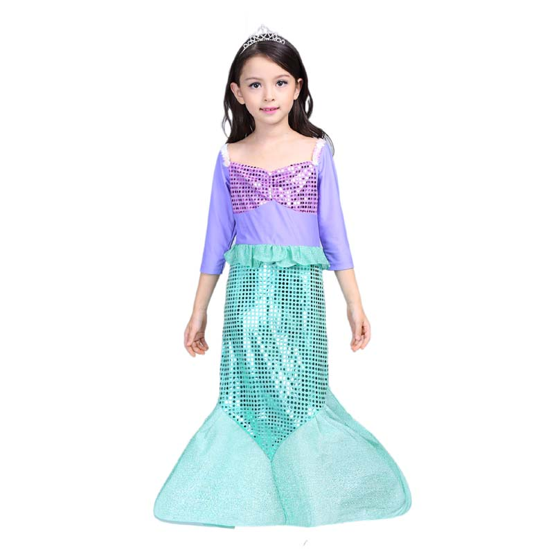 2018 Children Girl Clothes Little Mermaid Fancy Kids Girls Mermaid Dresses Princess Ariel Cosplay Halloween Costume mermaid-tail