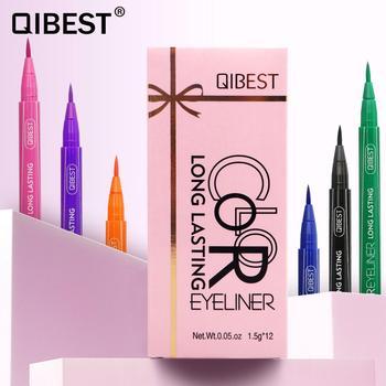 DHL QIBEST 12PCS/SET Liquid Eyeliner Pencil Black Eyes Make up Colorful Long-Lasting Blue Red Pink Brown Green Eye Liner Pen