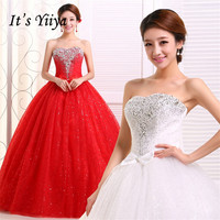 Free Shipping YiiYa Red Wedding Gowns Cheap Plus Size Lace Wedding Dress Fashion Design Bride Wedding