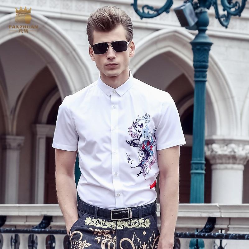Men's Clothing Fanzhuan Free Shipping New Mans Male Man 2018 Summer Casual Slim Black Hort-sleeved Animal Printed Simple Design Shirt 812083