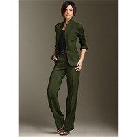 Pants Jacket Business Women Suits Chinese Necklace Green Dark Pants Suit Ladies Suit Pant Suits Women Style Office Uniform