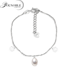 Simple beautiful 925 sterling silver anklet for women,girl's gift genuine freshwater pearl bead feet anklet