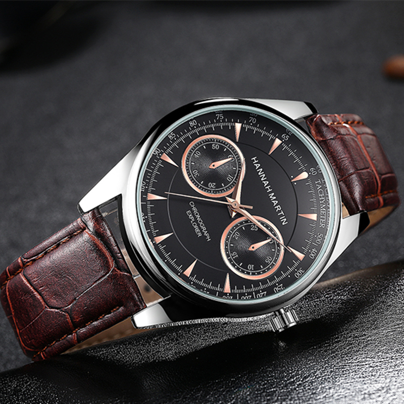 Hannah Martin Men WristWatch Fashion Quartz Watch Black Band Leather Clock Rose 40mm Case Man Wrist Watch men's wrist watch цепочка