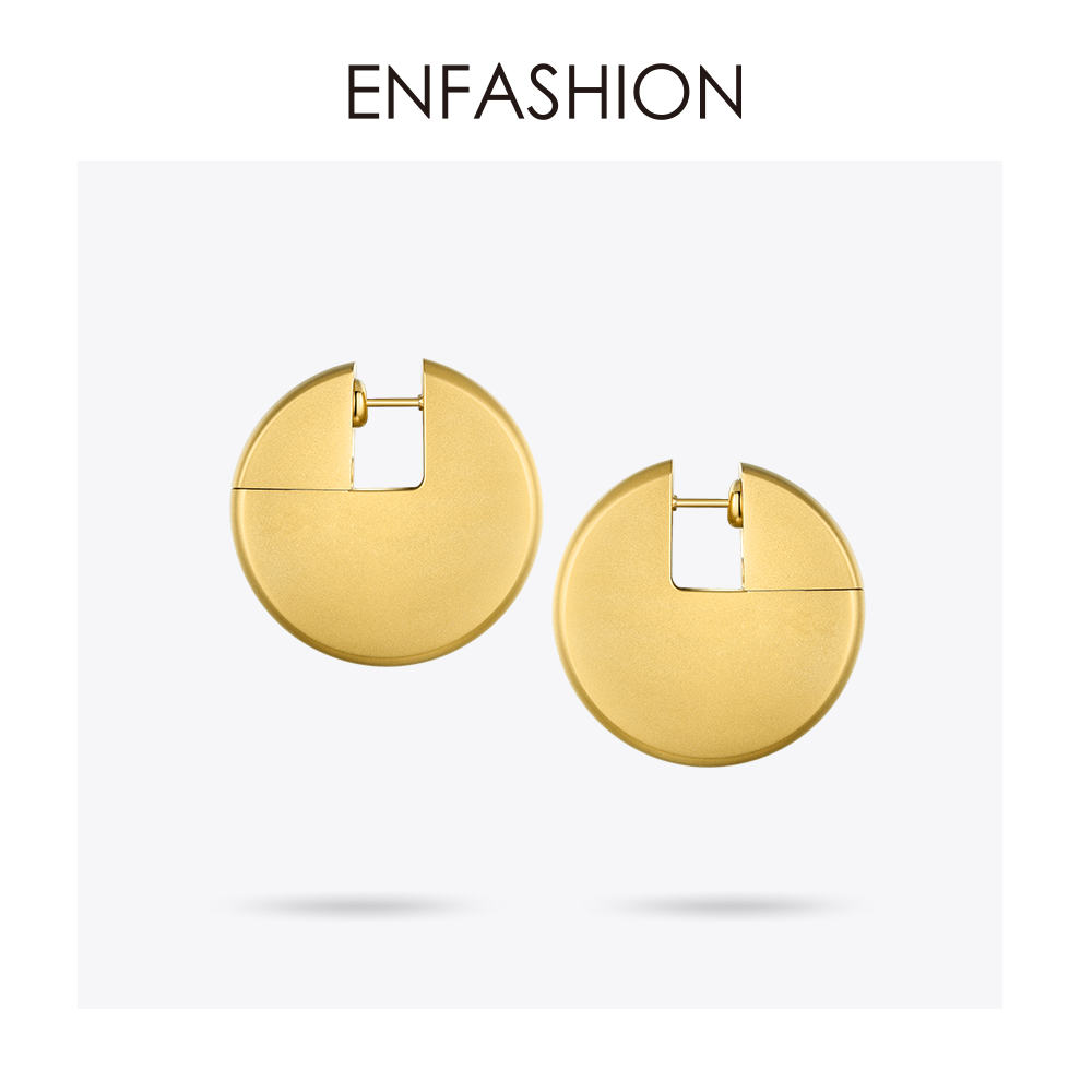 Enfashion Discos Drop Earrings For Women Gold Color Big Circle Statement Stainless Steel Earings Fashion Jewelry Oorbellen 1053