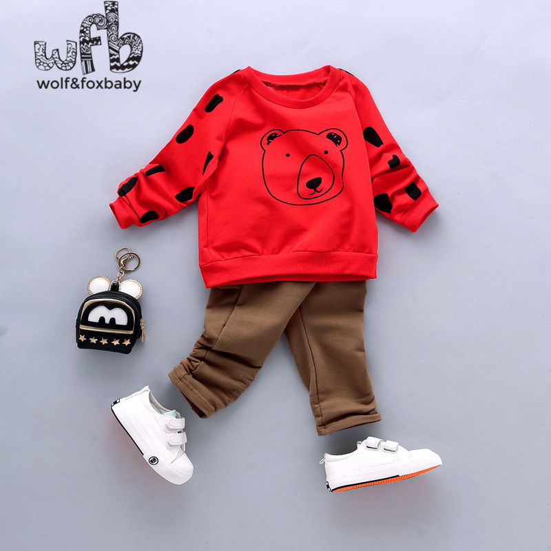 Retail 0-3 years sets full-sleeves cartoon bear Sweatshirts + solid color pants kids children spring autumn fall