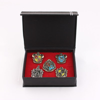 5 PCS New Harry Potter Gryffindor Slytherin Ravenclaw Hechpacchi School Badge With Gift Box Pack Of