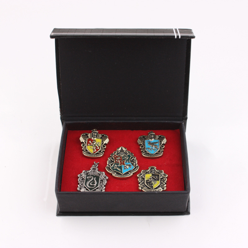 5PCS New Arrive HP Magic Academy Badge  Four Houses Pins School Badge  With Gift Box