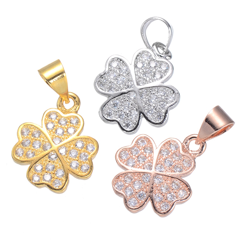 2017 New Copper CZ Pendant Clover Necklaces Pendant For Women Jewelry Fashion Flower Charms For DIY Jewellery Making Wholesale ...