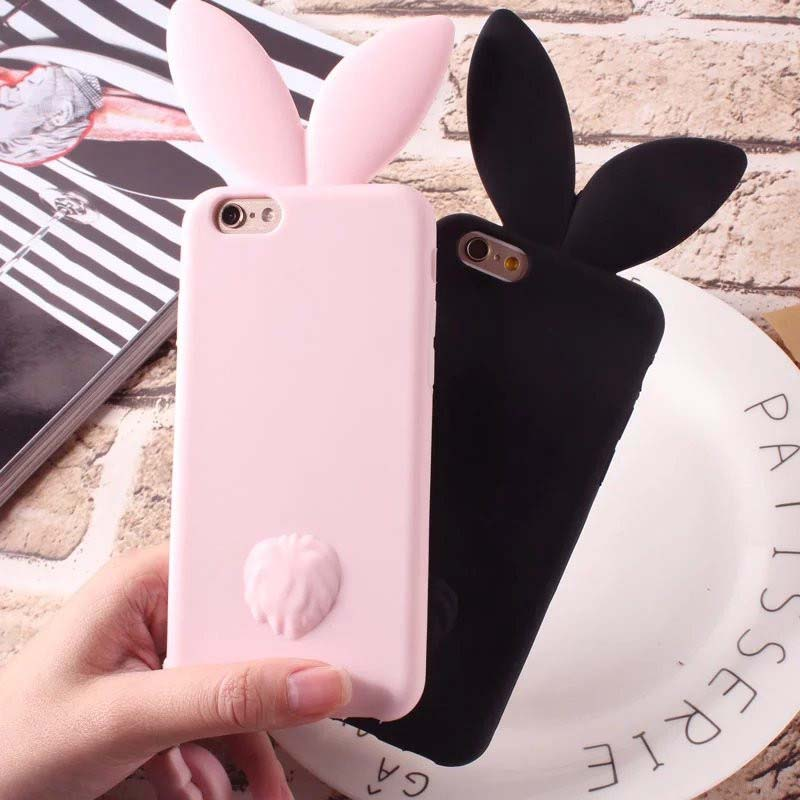3D Cute Rabbit Ear Case Soft Silicon For iPhone 6 6plus 6s 6splus 5 5S SE Cute Pink & Black Girl Cover For iPhone 7 7plus JS0014 ...