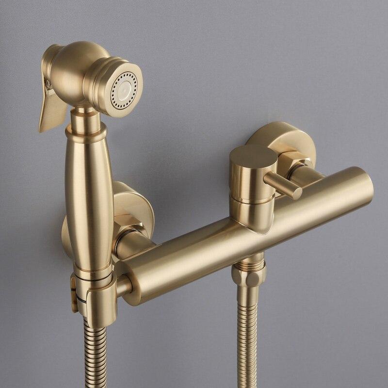 brushed soild brass toilet bidet sprayer set Hot and cold water mixer hygienic hand gold bidet shower set