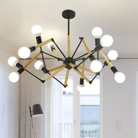 Chandelier Wooden Spider Light E27 12 Heads Metal Lamp For Living Room Dining Bedroom Office Cafe Clothing Store Chandelier G118