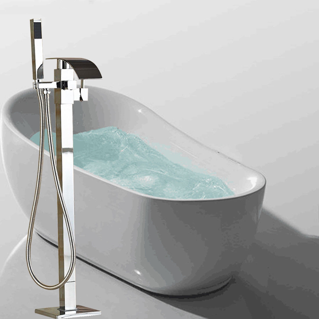 Floor Mount Chrome Waterfall Bathtub Faucet Hand Shower Tub Filler Standing Bathroom Faucet Mixer Tap oil rubbed bronze waterfall tub mixer faucet free standing floor mount bathtub faucet with handshower