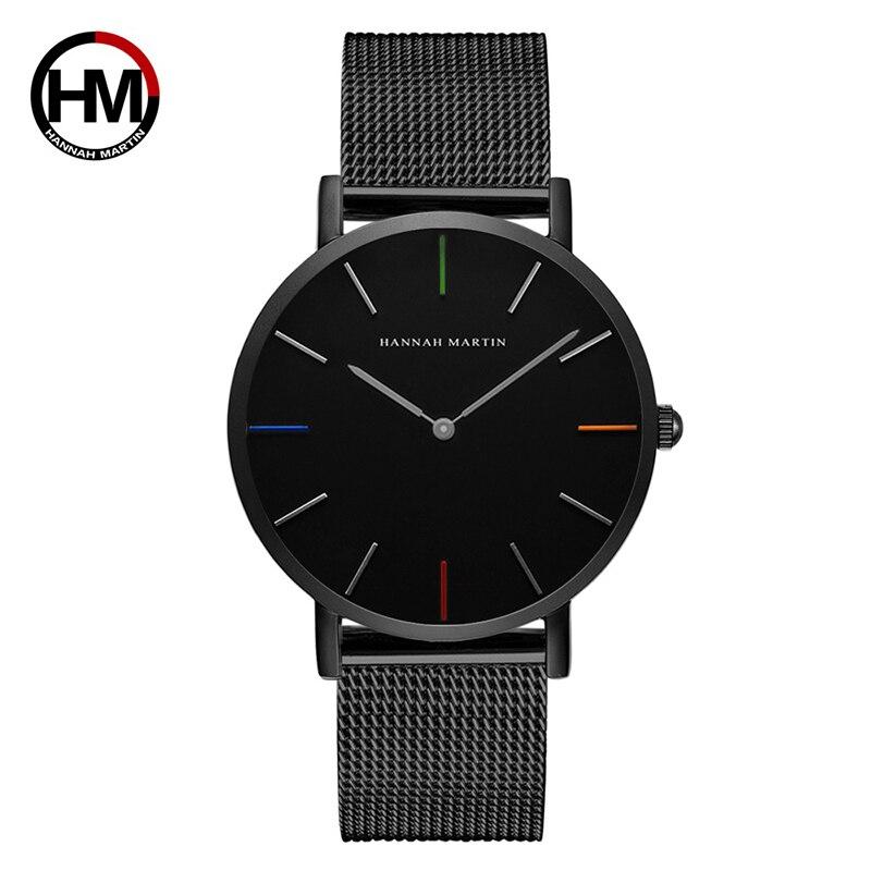 Hannah Martin Woman Watch 2019 Black Mesh Stainless Steel Waterproof Top Brand Luxury Quartz Clock Ladies Watches Zegarek Damski
