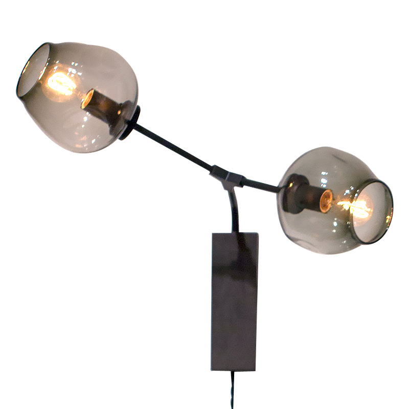 Modern Wall Lamp 2 head Glass Sconce Luminaire black gold metal arm For Bathroom Bedroom ...