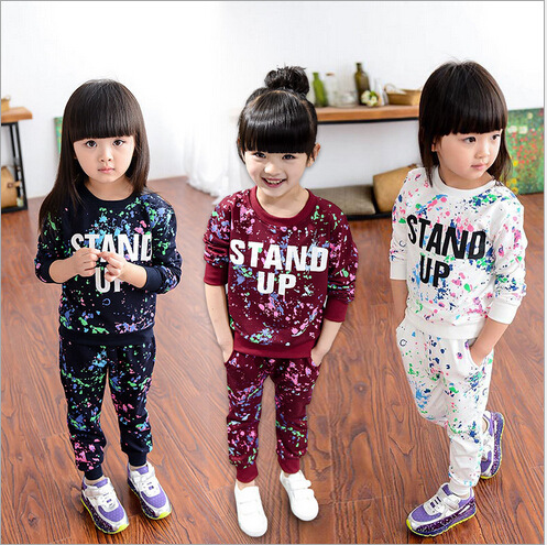 2017 Kids Children Autumn Girls Boys Long Sleeve T-shirts Colorful Dot Print Tops Pants Baby Sport Clothing Sets 2-8Y Clothes 2017 spring autumn 1 6t kids cotton long sleeve t shirt baby boys girls age number blouse tops children pullovers tee camiseta
