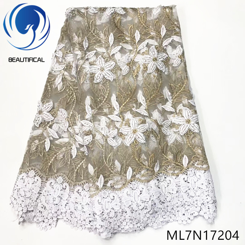 Beautifical nigerian lace fabrics embroidery net lace mix cord lace 5yards Lateste Fashion french lace beads and stones ML7N172Beautifical nigerian lace fabrics embroidery net lace mix cord lace 5yards Lateste Fashion french lace beads and stones ML7N172
