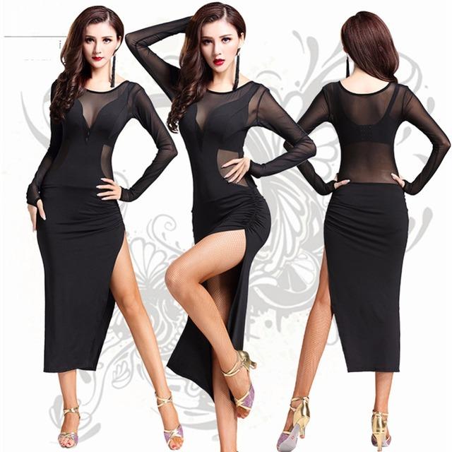 Latin Salsa Tango Ballroom Dance Dress Clothes Dancewear Wear Costumes With Fringe And Tassel