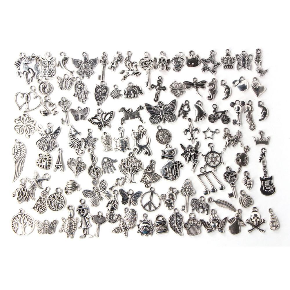 100 шт./лот смешанные античное серебро Цвет Европейский Браслеты Шарм Подвески модные украшения делая Выводы DIY талисманы ручной работы