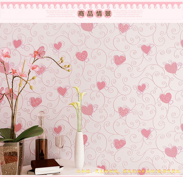 Heart Non Woven Wallpaper Rustic 3d Child Room Male Girl Bedroom Wall