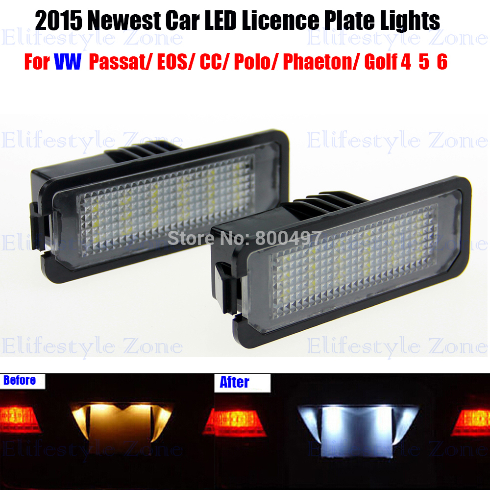 2 x LED Number License Plate Lamp OBC Error Free 18 LED For Volkswagen VW CC EOS Golf Passat Sciricco 2 x led number license plate lamps obc error free 24 led for bmw e39 e80 e82 e90 e91 e92 e60 e61 e70 e71