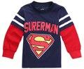 Hot Moda 1-7 Ano Superman Batman Menino Miúdo Dos Desenhos Animados O Pescoço Camisola Hoodies Tops Manga Longa T-shirt Do Bebê roupas