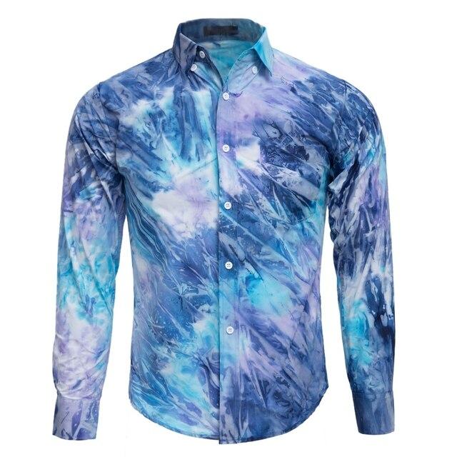 Fashion Male Tie Dye Pocket Design Slim Fit Casual Long Sleeve Shirt