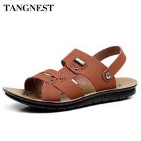 Tangnest New Summer Beach Man Sandals Fashion Metal Breathable Anti Skid Slip On Man Flats 2017