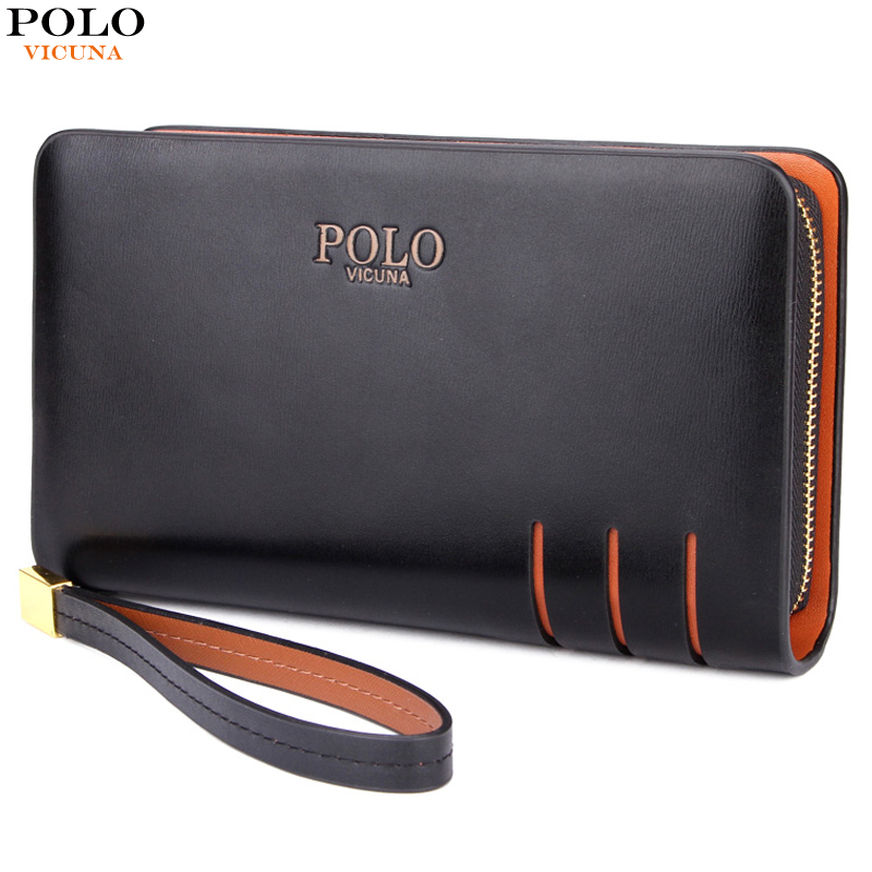 VICUNA POLO Large Capacity Double Layer Mens Clutch Wallet High Quality