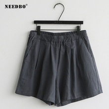 NEEDBO Shorts Women Sexy Office Ladies Summer For Wide Leg Loose Linen High Waist Casual Plus Size