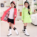 retro classic big girl Spring trench coat solid Windbreaker jacket  for 7-14yrs girls female children kid outerwear clothes hot