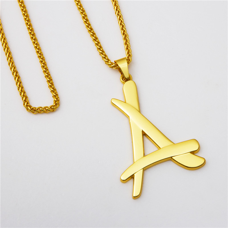 Hot star same style a letter gold chain necklace necklaces pendants hot star same style a letter gold chain necklace necklaces pendants cool hiphop rap mens jewelry gold necklace christmas gift in pendant necklaces from mozeypictures