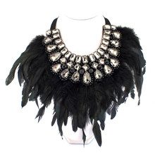 Luxury Crystal With Feather Choker Statement Collar Necklaces For Women Winter Dress Fashion Party Jewelry Accessories N2505