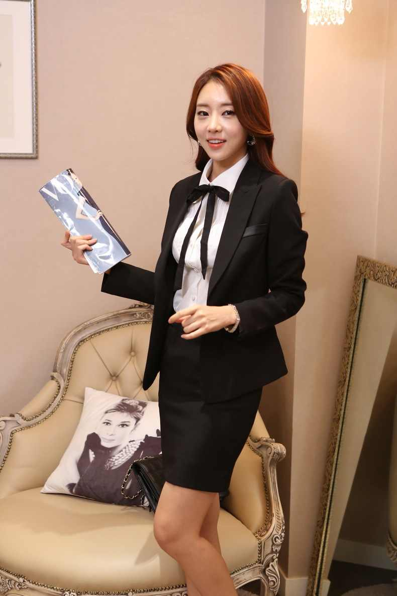 97f5dc7e657 ... 2018 AidenRoy Ladies Gray Blazer Office Uniform Designs Women Business  Suits Formal Work Skirt and Jacket