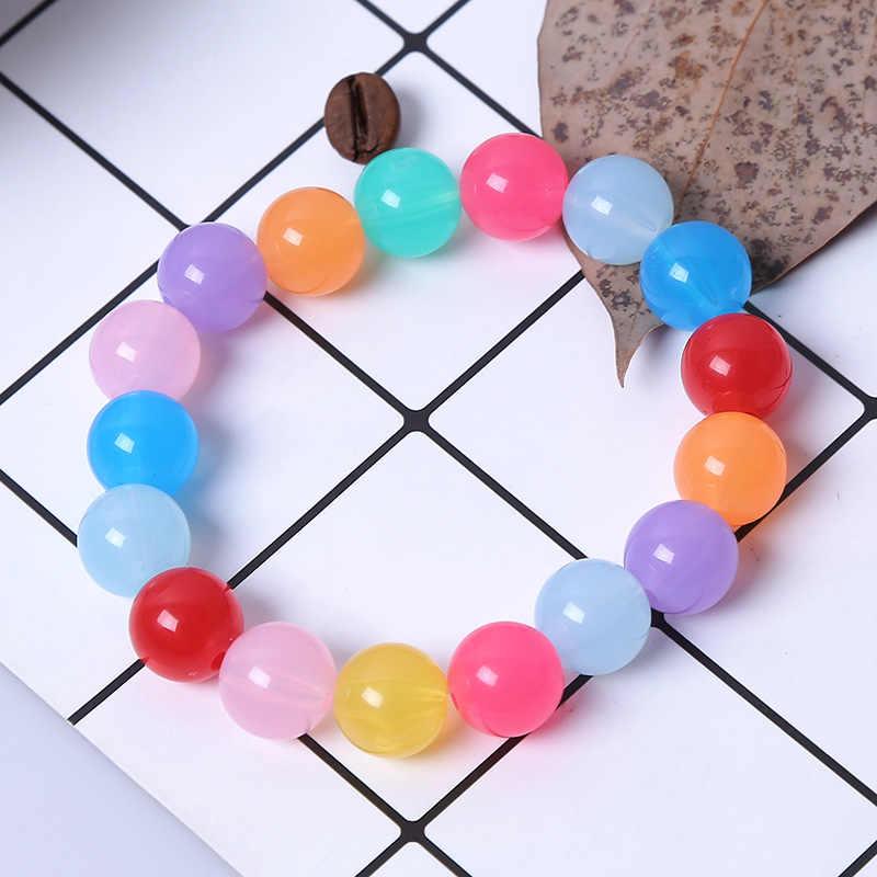 Moda doce bonito cor acrílico 8mm 10mm 12mm contas presente para a criança pulseiras princesa bebê menina jóias do miúdo acessórios