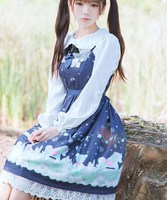 a48bc5a906 1pc Lolita Girls Snow Doll Print JSK Suspender Dress Fairy Kei Sleeveless  Lace Trim Bows Costume