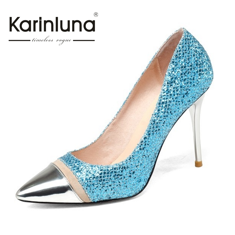 KARINLUNA Brand New Big Size 34-43 Nature Cow Leather Women Pumps Sexy Thin High Heels Pointed Toe Party Wedding Shoes Woman big size sale 34 43 new fashion sexy pointed toe women pumps spring summer autumn high heels ladies wedding party shoes 6629