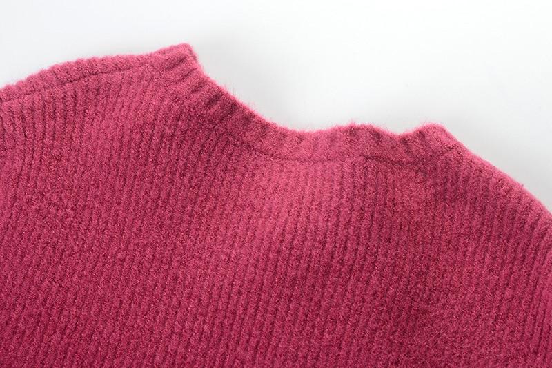 Asymétrique Hiver Wang Fuchsia Streetwear Des Chandail Automne 2018 Boutons Chandails Whitney Pull Jumper Skew Femmes Mode t8qFHFZw