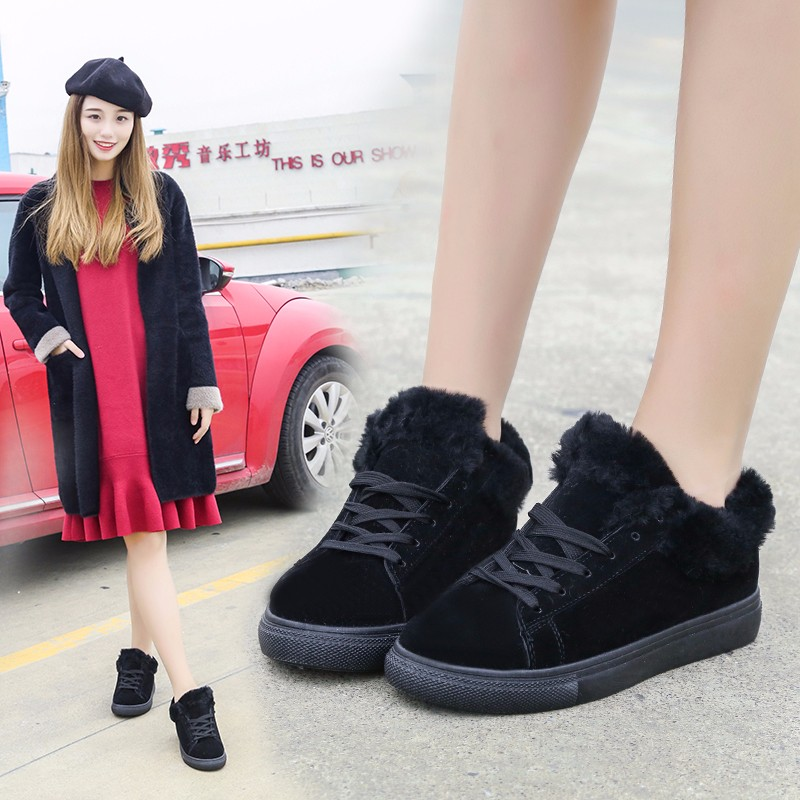 Women Flats For Winter Plush Warm Shoes Casual Flat Heels Lace Up Ladies Shoes Size 35-40 Black Gay Pink Fashion Fur Shoes NX5 (26)