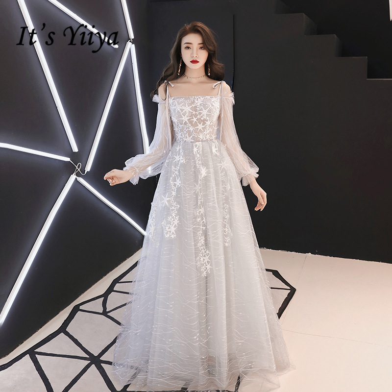 It's Yiiya   Prom   Gowns Gray Champagne Boat Neck Full Sleeves A-line Party   Dress   Floor length Stars Plus Size   Prom     Dresses   E428