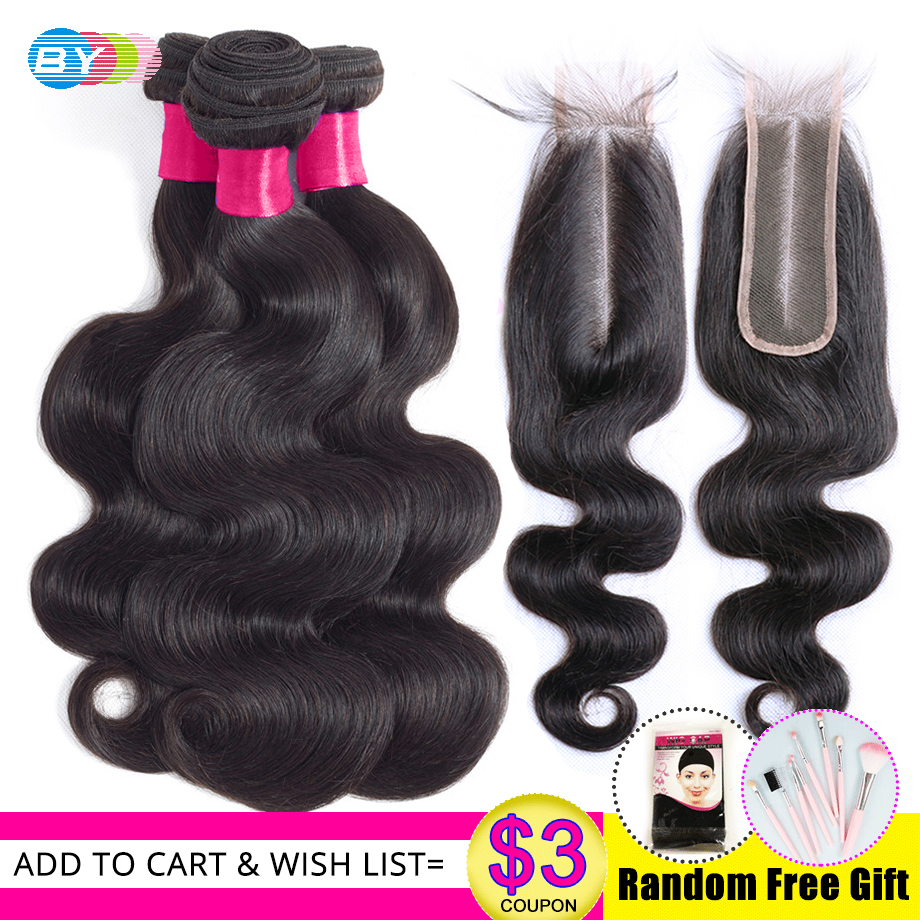 BY Hair Brazilian Body Wave Bundles With 2 6 Lace Closure Middle Part Non Remy 2x6