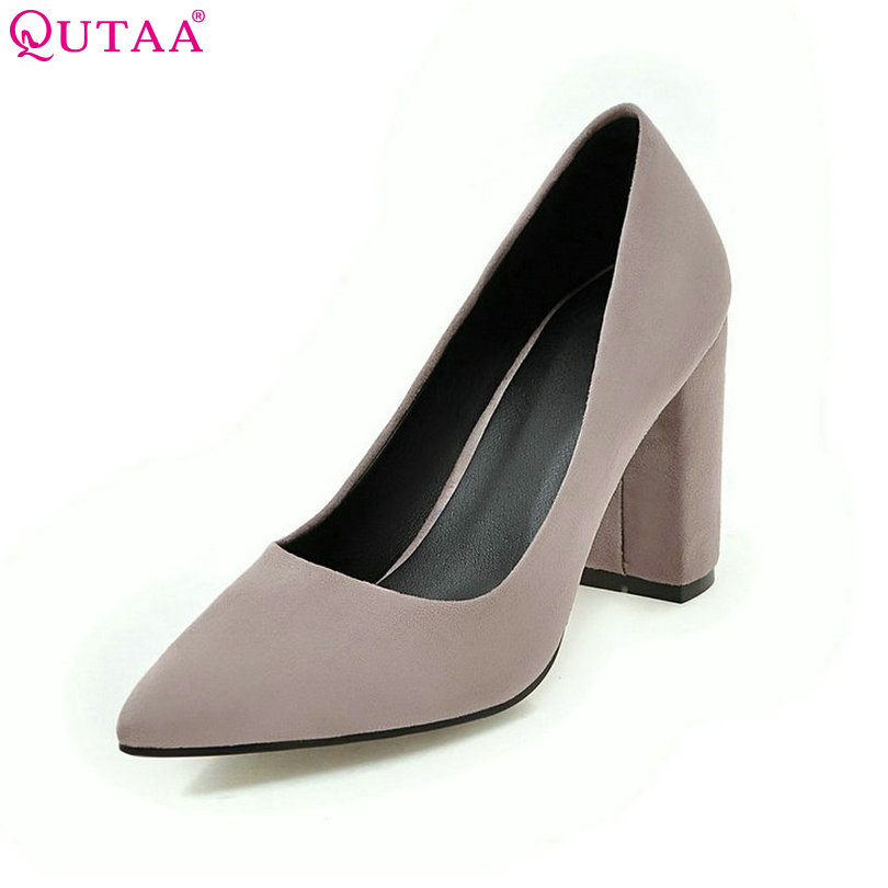 QUTAA Women Pumps Ladies Shoes Square High Heel Flock Slip On Elegant Pointed Toe Brown Woman Wedding Shoes Size 34-43 newest solid flock high heel pumps woman