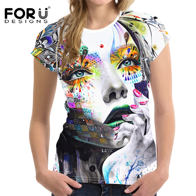 9e3cfbbf FORUDESIGNS Funky Abstract Design Women T Shirt Polyester Short Sleeve Tops Tee  Shirt Summer Breathable Tshirt Brand Clothing